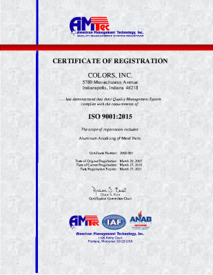 ISO Certificate 2015